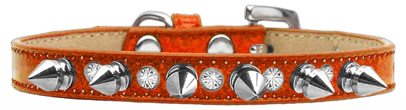 Crystal And Silver Spikes Dog Collar Orange Ice Cream Size 10