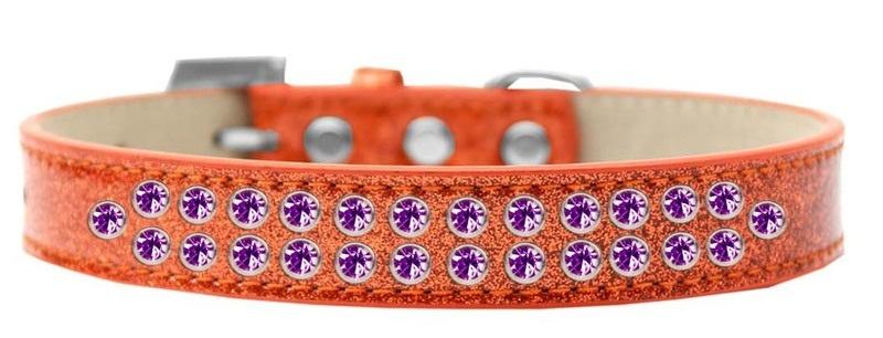 Two Row Purple Crystal Size 12 Orange Ice Cream Dog Collar