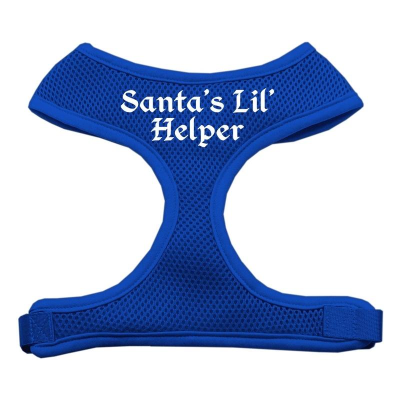 Santa's Lil Helper Screen Print Soft Mesh Pet Harness Blue Large