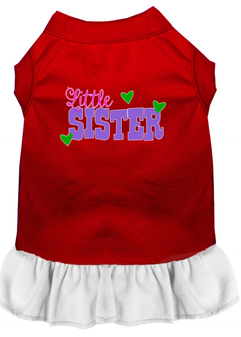 Little Sister Screen Print Dog Dress Red With White Lg