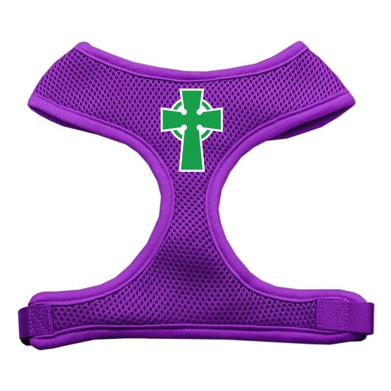 Celtic Cross Screen Print Soft Mesh Pet Harness Purple Extra Large