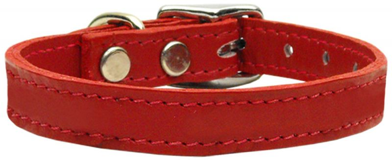 Plain Leather Dog Collars Red 22