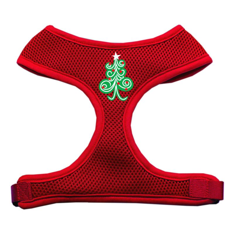 Swirly Christmas Tree Screen Print Soft Mesh Pet Harness Red Extra Large