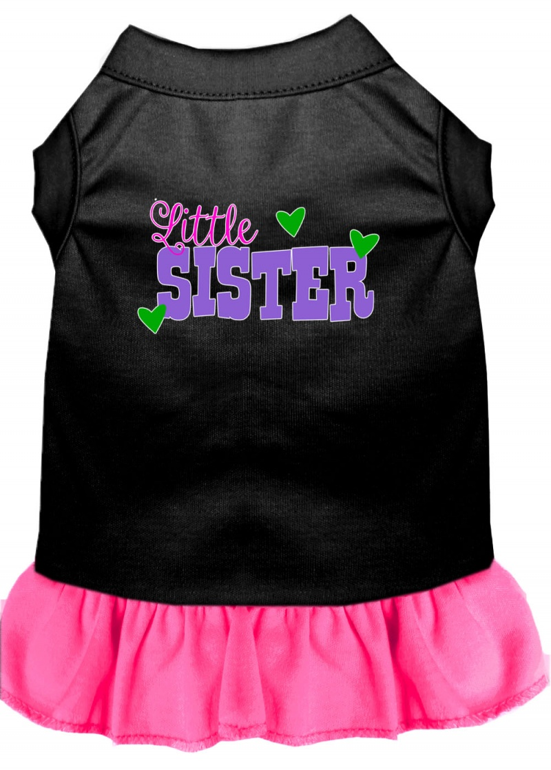 Little Sister Screen Print Dog Dress Black With Bright Pink Med