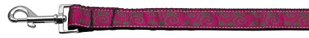 Pink And Lime Swirly Nylon Ribbon Dog Collars 1 Wide 6Ft Leash
