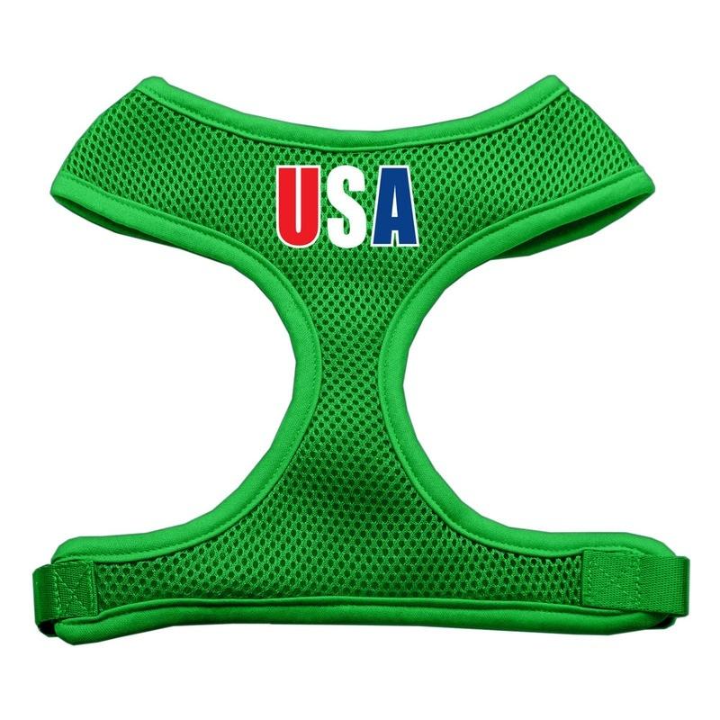 Usa Star Screen Print Soft Mesh Pet Harness Emerald Green Extra Large