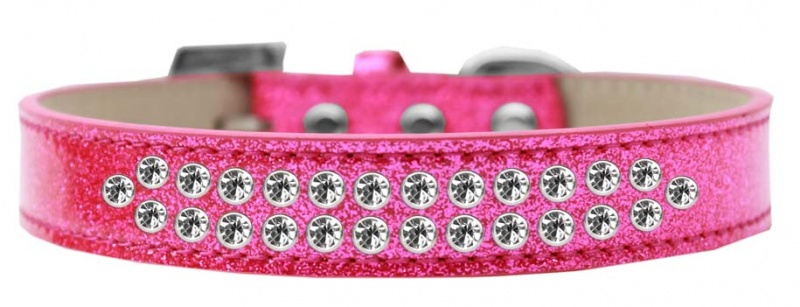 Two Row Clear Crystal Size 12 Pink Ice Cream Dog Collar