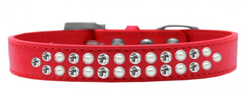 Two Row Pearl And Clear Crystal Size 20 Red Dog Collar