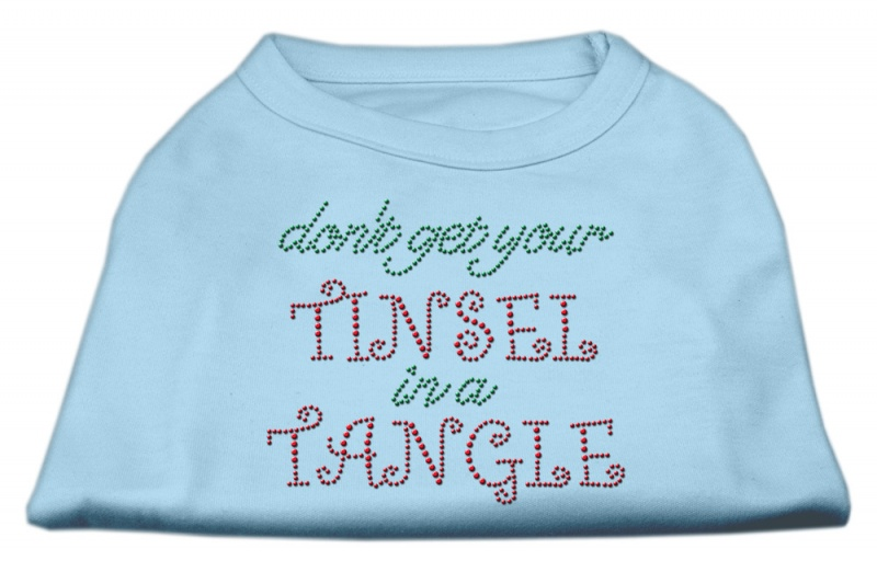 Tinsel In A Tangle Rhinestone Dog Shirt Baby Blue Med