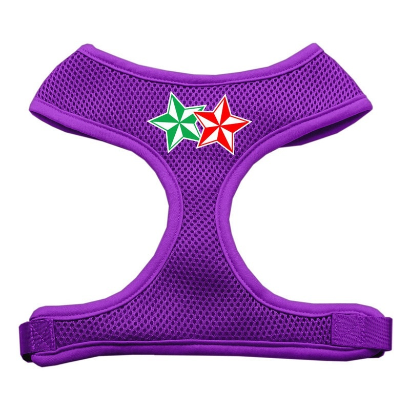 Double Holiday Star Screen Print Mesh Pet Harness Purple Small