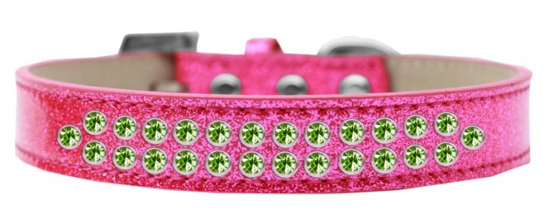 Two Row Lime Green Crystal Size 18 Pink Ice Cream Dog Collar