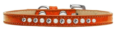 Pearl And Clear Crystal Size 14 Orange Puppy Ice Cream Collar