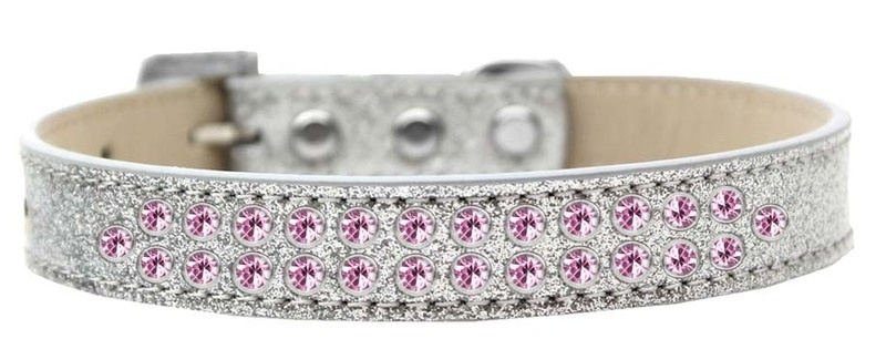 Two Row Light Pink Crystal Size 16 Silver Ice Cream Dog Collar