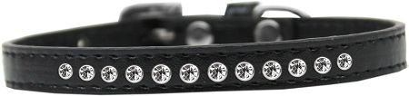Clear Crystal Size 12 Black Puppy Collar