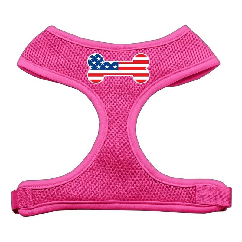 Bone Flag Usa Screen Print Soft Mesh Pet Harness Pink Small
