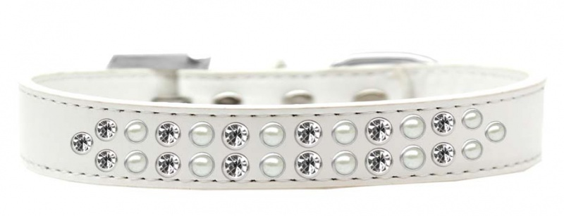 Two Row Pearl And Clear Crystal Size 20 White Dog Collar
