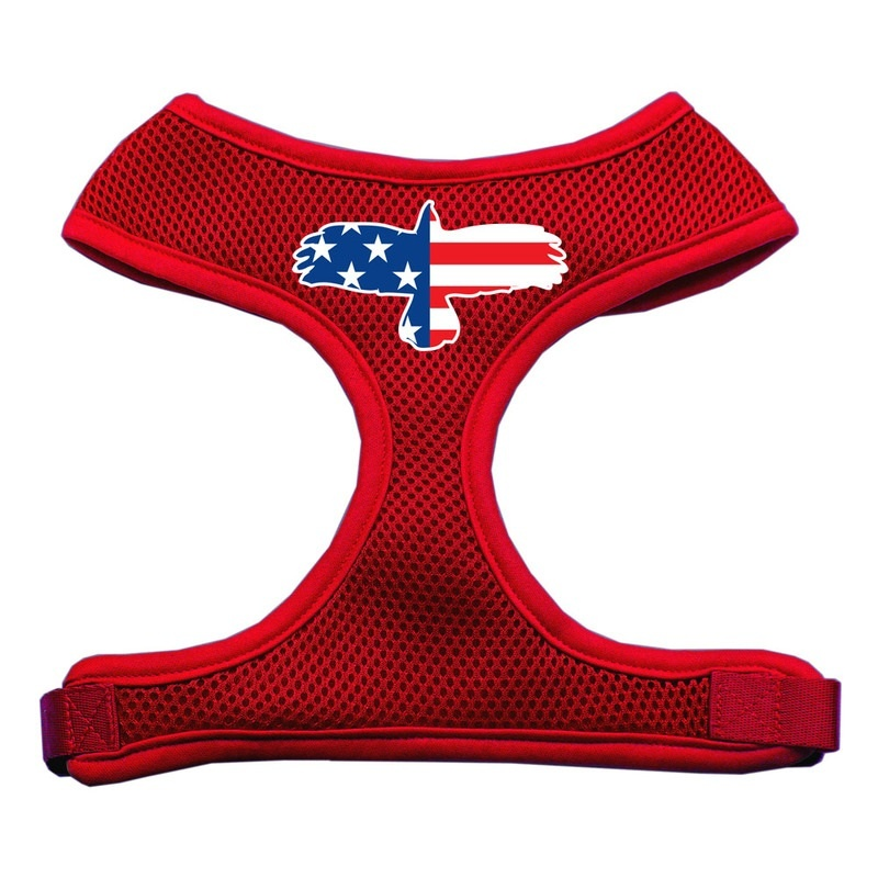 Eagle Flag Screen Print Soft Mesh Pet Harness Red Large
