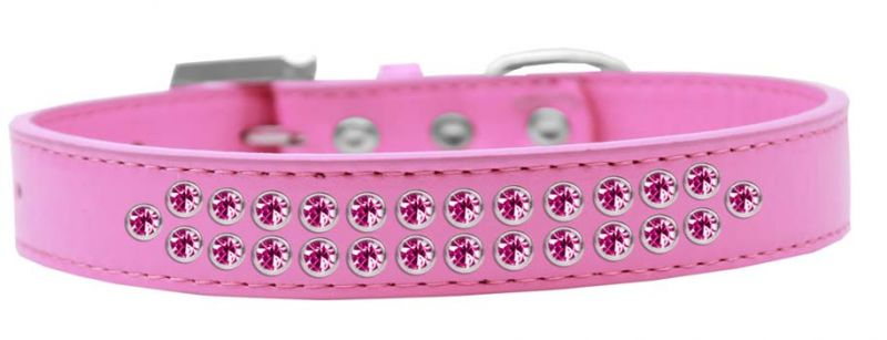 Two Row Bright Pink Crystal Size 16 Bright Pink Dog Collar