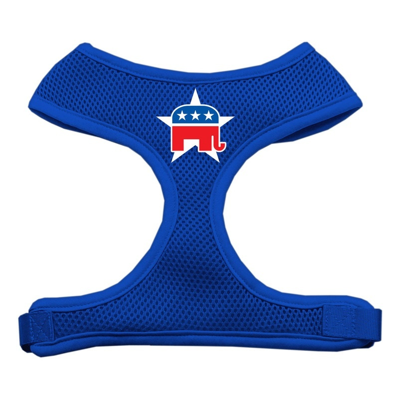 Republican Screen Print Soft Mesh Pet Harness Blue Extra Large