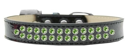 Two Row Lime Green Crystal Size 20 Black Ice Cream Dog Collar