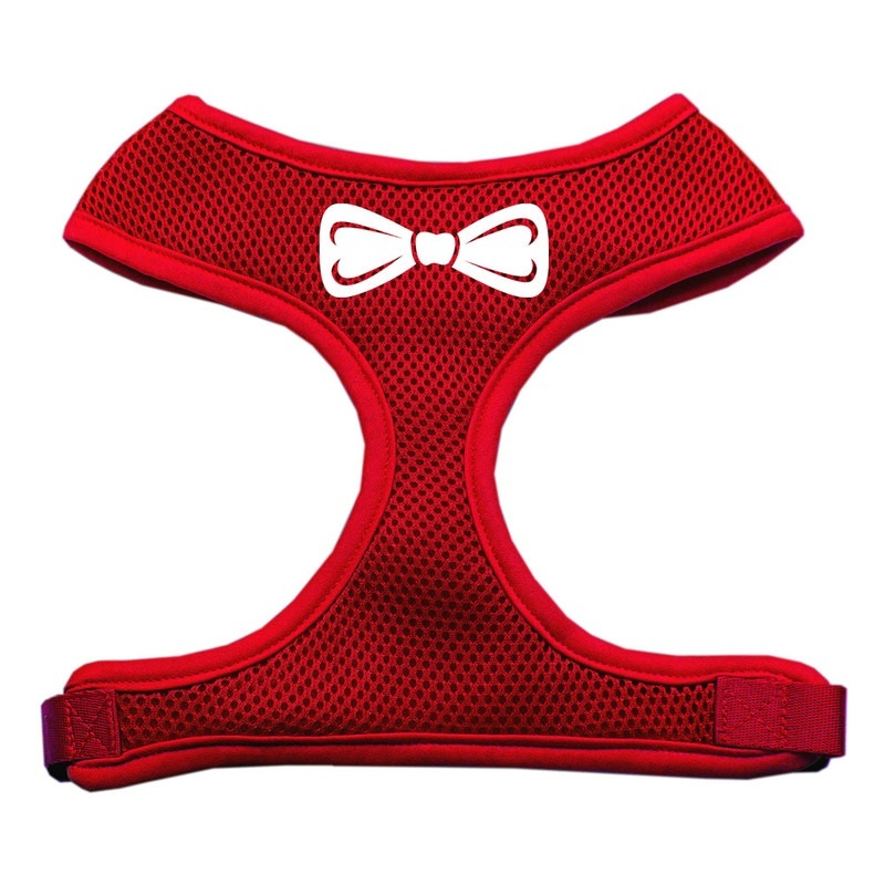 Bow Tie Screen Print Soft Mesh Pet Harness Red Extra Large