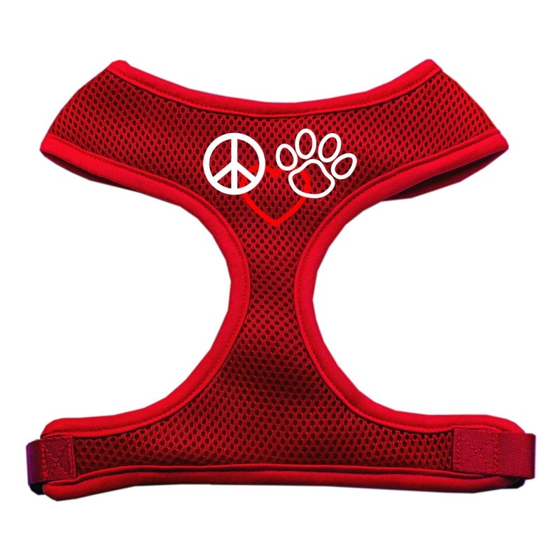 Peace, Love, Paw Design Soft Mesh Pet Harness Red Small