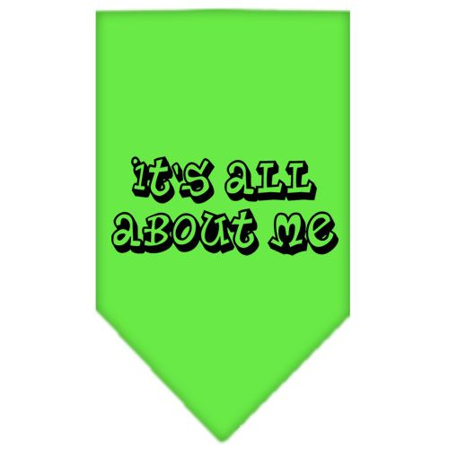 It's All About Me Screen Print Bandana Lime Green Large