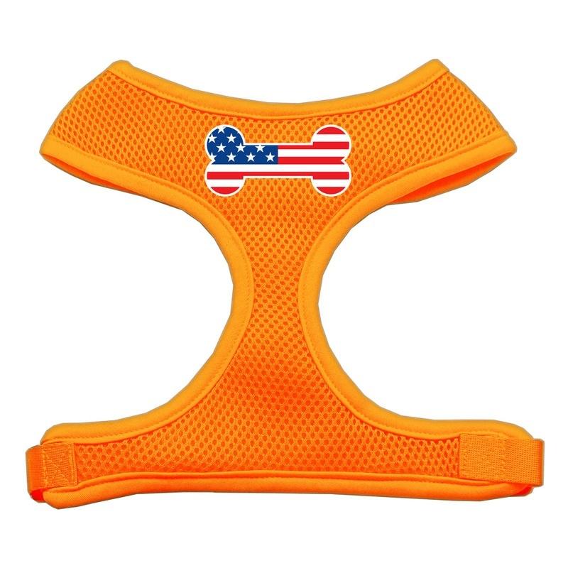 Bone Flag Usa Screen Print Soft Mesh Pet Harness Orange Large