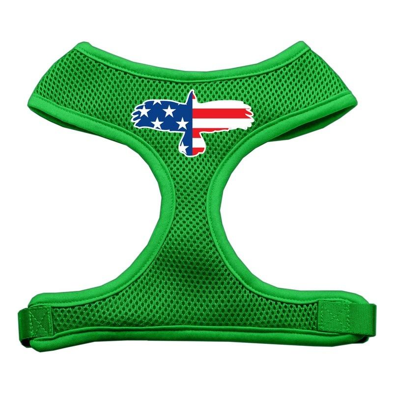 Eagle Flag Screen Print Soft Mesh Pet Harness Emerald Green Medium