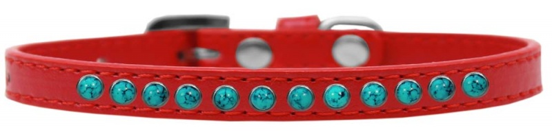Southwest Turquoise Pearl Size 12 Red Puppy Collar