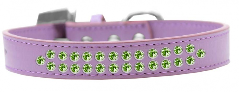 Two Row Lime Green Crystal Size 20 Lavender Dog Collar