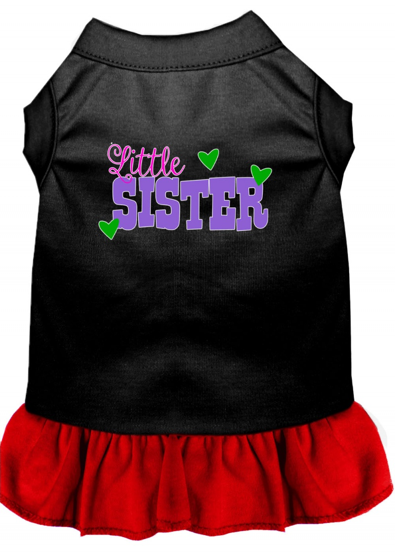 Little Sister Screen Print Dog Dress Black With Red Xxxl