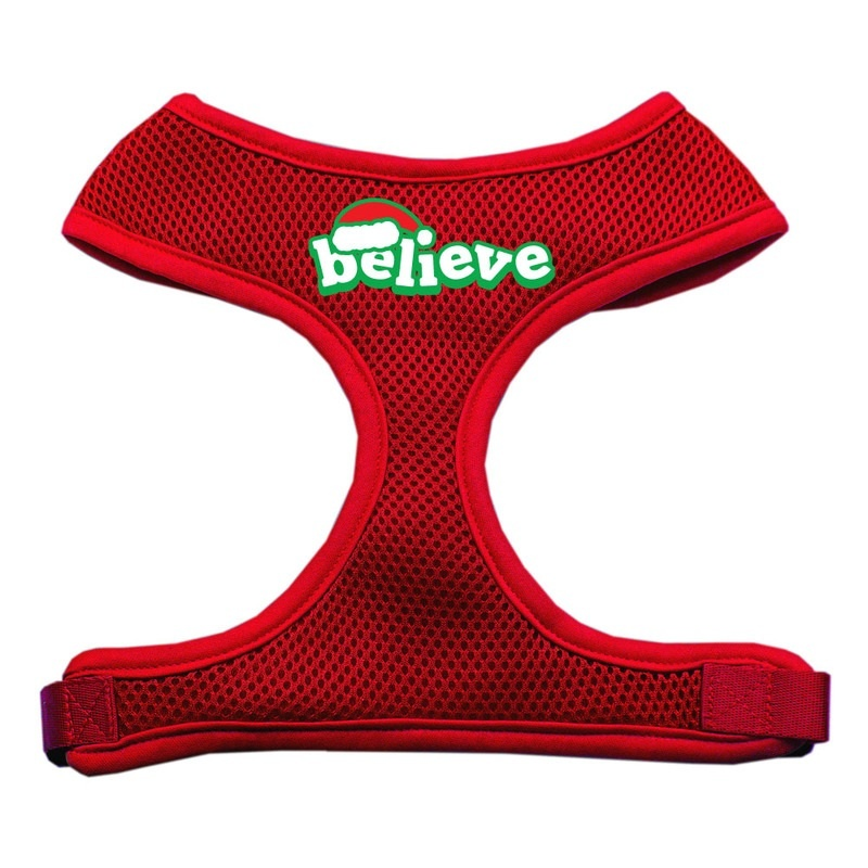 Believe Screen Print Soft Mesh Pet Harness Red Small