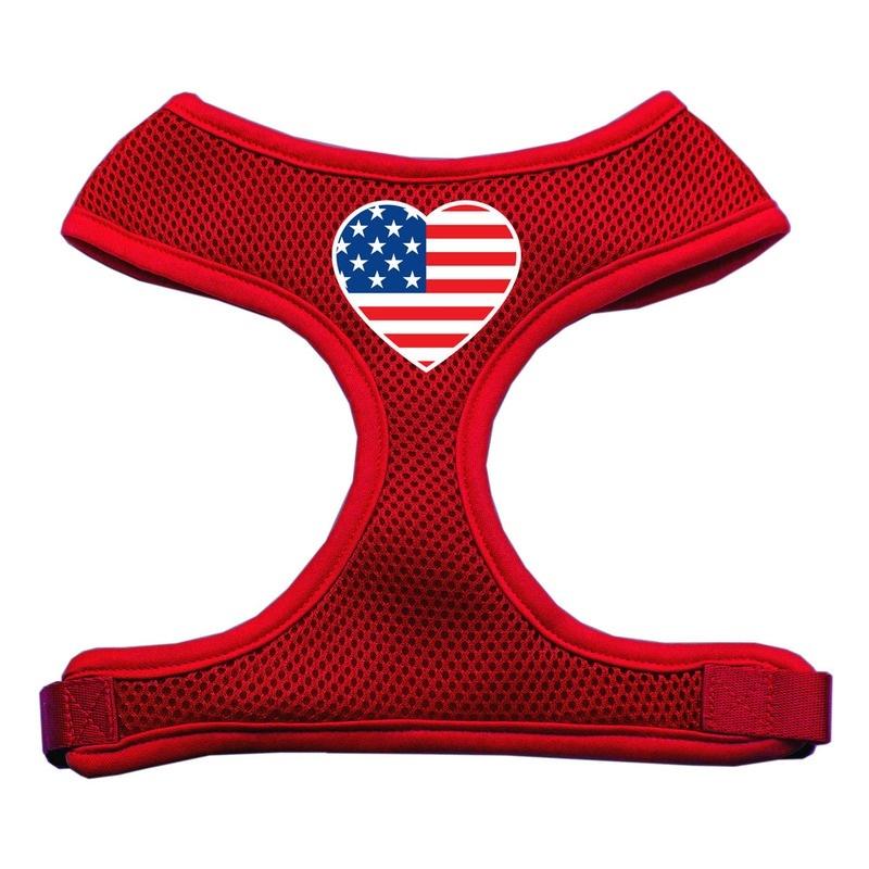 Heart Flag Usa Screen Print Soft Mesh Pet Harness Red Medium