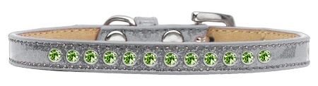 Lime Green Crystal Size 10 Silver Puppy Ice Cream Collar