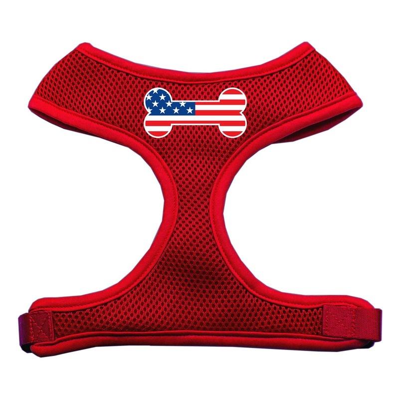 Bone Flag Usa Screen Print Soft Mesh Pet Harness Red Medium