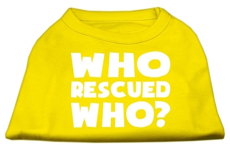 Who Rescued Who Screen Print Shirt Yellow Lg