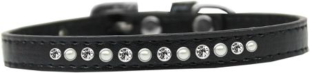 Pearl And Clear Crystal Size 14 Black Puppy Collar