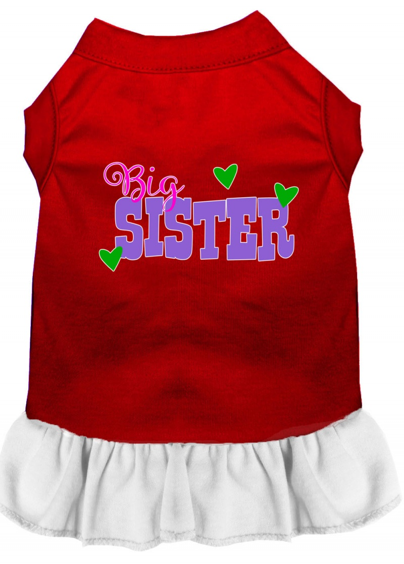 Big Sister Screen Print Dog Dress Red With White Xs
