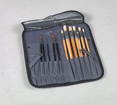 Just Stow-it® Easel Back Brush Case Black