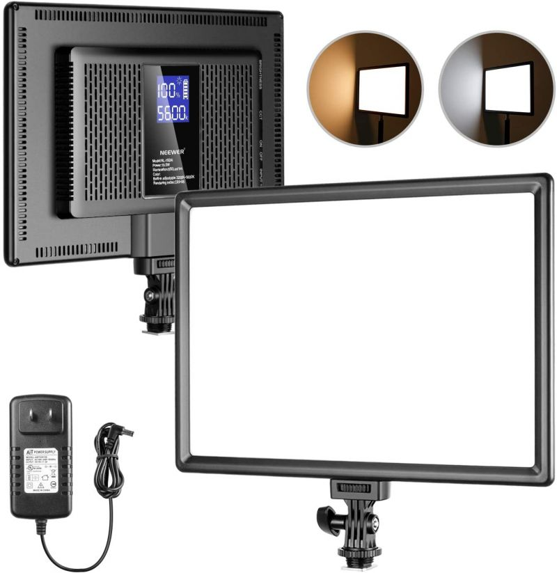 Neewer Dimmable Bi-color Ultra-thin 192 Led Video Light Panel With Lcd Display, Built-in Lithium Battery