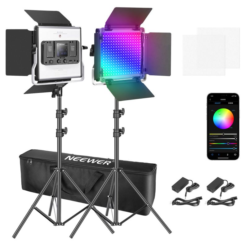 Neewer 2/3 Packs 660 Rgb Led Light With App Control, Photography Video Lighting Kit With Stands And Bag