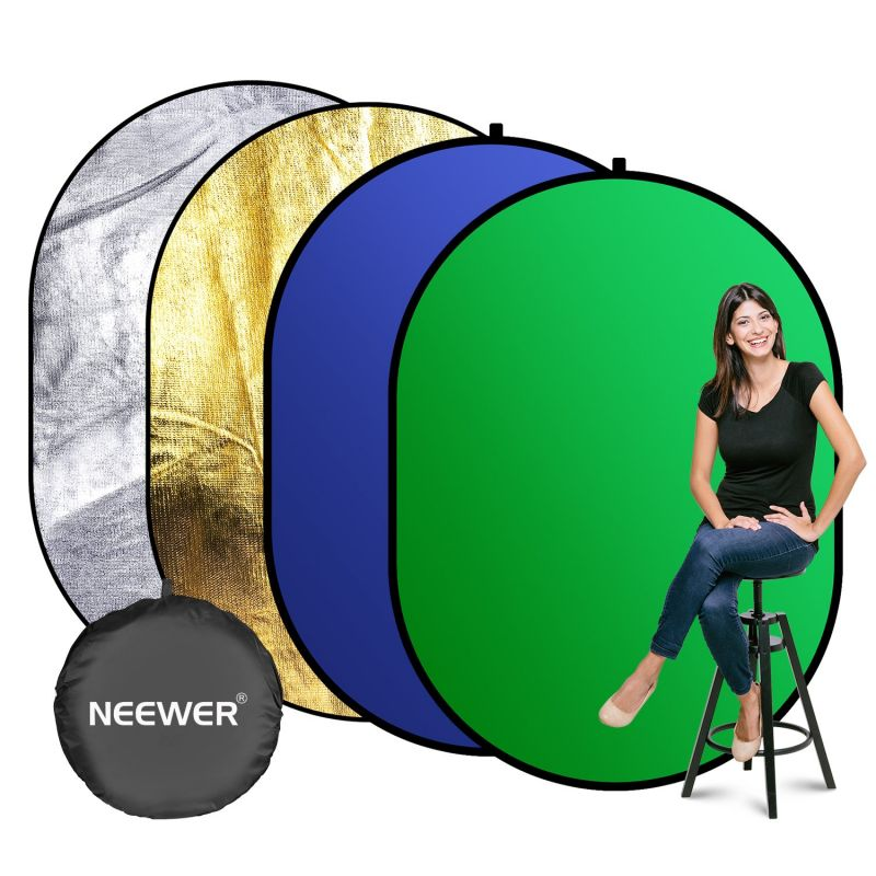 Neewer Photography Backdrop, 4-in-1 Chromakey Blue/green Screen Panel With Sliver/gold Reflective Surface