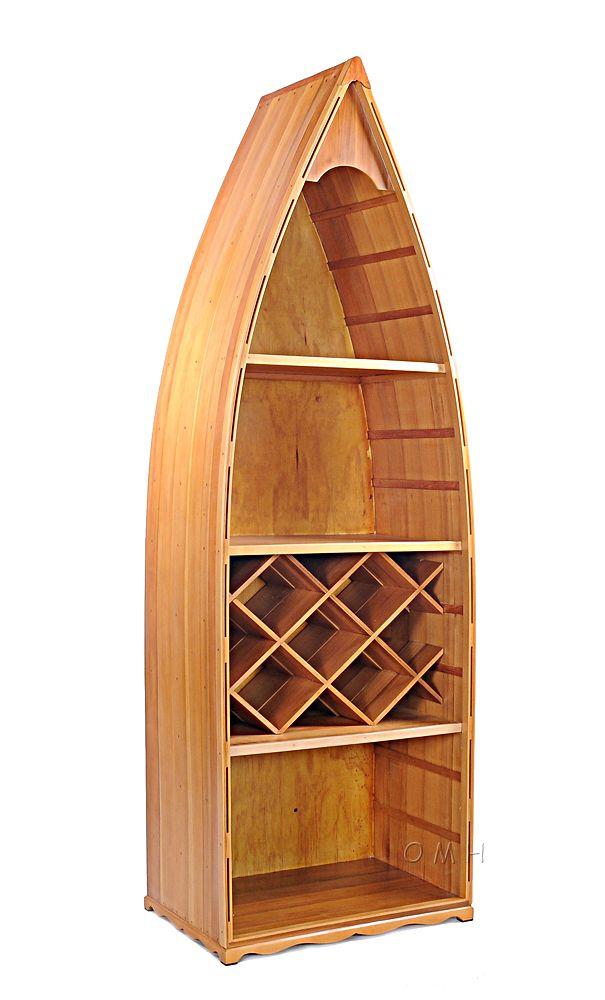 Wooden Canoe Wine Shelf