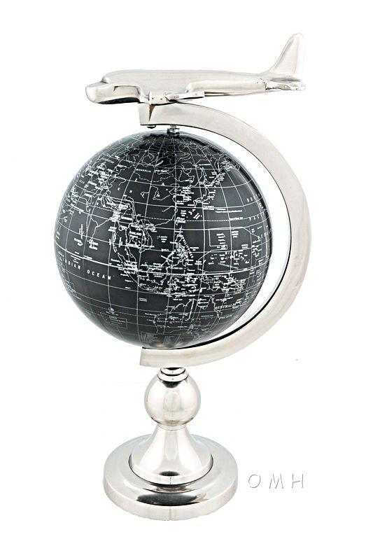 Airplane On Globe W Brass Stand