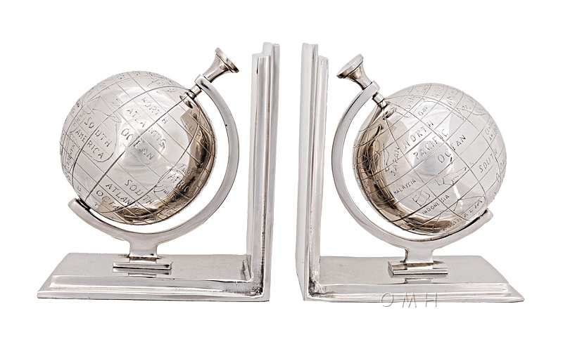 Alum Globe Bookend Set Of Two