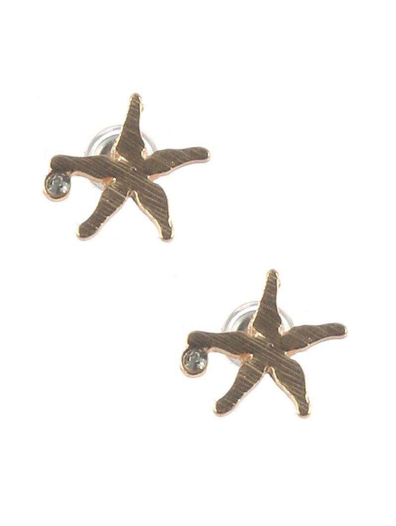 Matte Finish Metal Starfish Stud Crystal Stone