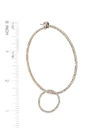 Rhinestone Ring Charm Coil Wire Hoop Post Pin