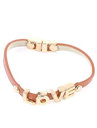 Letter Metal Charm Faux Leather Love