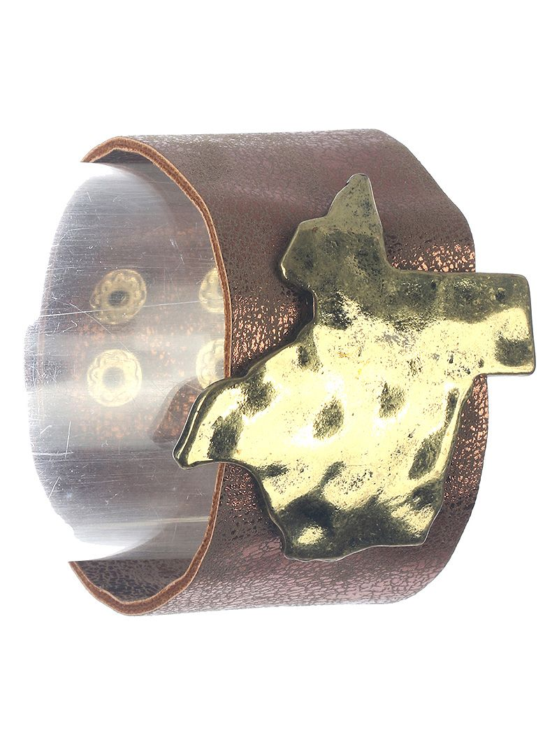 State Of Texas Faux Leather Band Metallic Finish
